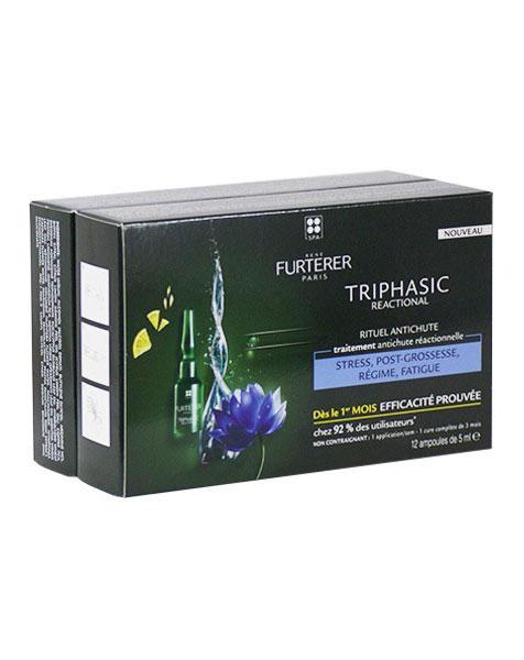 Triphasic Tratamiento Anticaida Reaccional 12amp. + Regalo Ch. Triphasic 100ml. - Rene Furterer